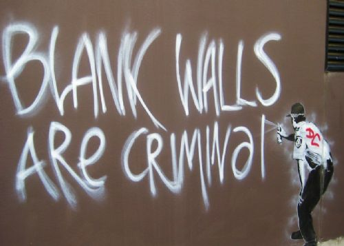 BANKSY - BLANK WALLS ARE CRIMINAL canvas print - self adhesive poster - photo print